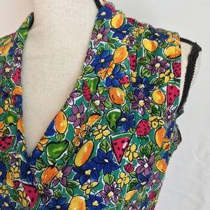 Vintage Tops - Vintage Colorful Fruit Print Back Cutout Top